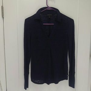 Burn out top over shirt button down collar pockets